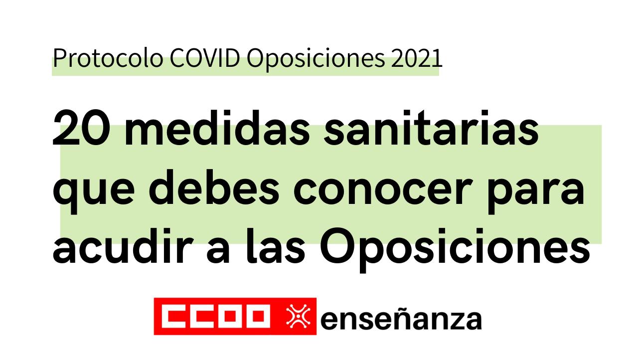 20 medidas sanitarias que debes conocer para acudir a las Oposiciones 2021