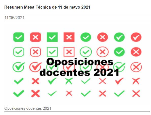 Resumen Mesa Técnica de 11 de Mayo 2021: Calendario y medidas COVID en oposiciones