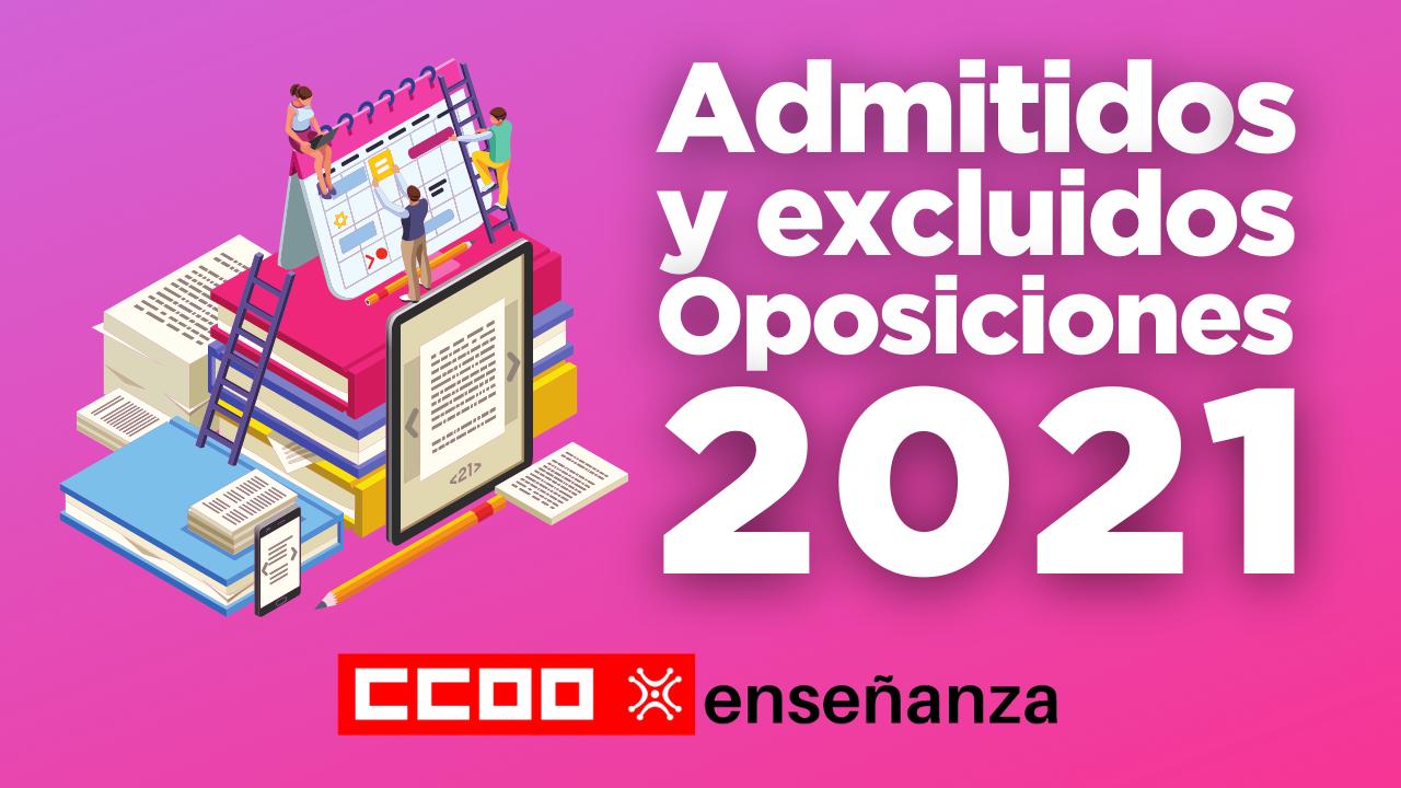 Listado definitivo de admitidos y excluidos y sedes del acto de presentación y primera prueba Oposiciones 2021